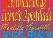 Certificación consular de licencia apostillada en venezuela / carta / partida