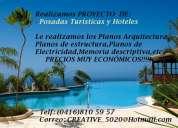 Proyectos arquitectonicos de posadas turísticas y hoteles.