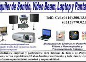 Alquilo video beam, laptop y pantalla.