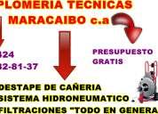 Plomeria y  multiservicios tecnicas maracaibo destape, filtraciones, hidroneumaticos.