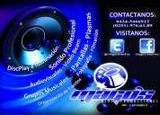 sonido profesional discplay iluminación, audiovisuales, animación musical, dj.